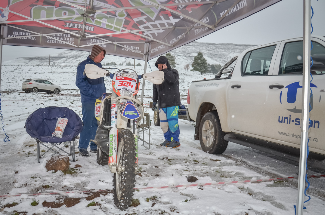 The Motul Roof of Africa enduro gets underway in the snow