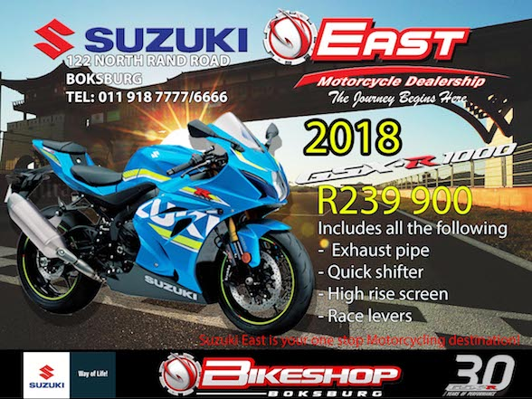 Promotion: GSXR special & used stock at Bikeshop Boksburg