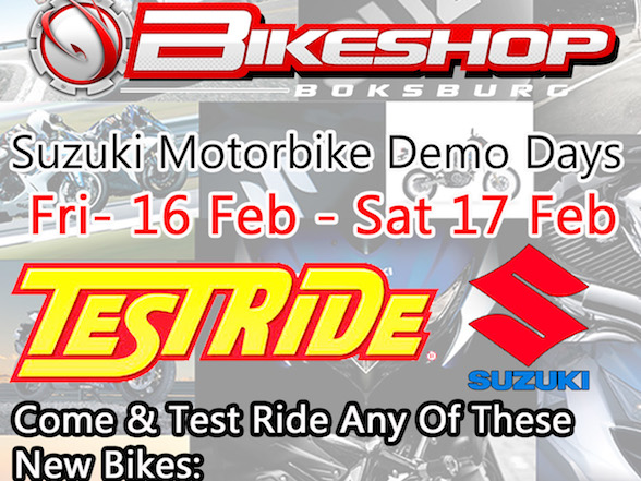 Suzuki East demo ride weekend – 16 & 17 February