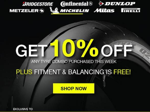 Biker's Warehouse offers 10% off any tyre combo