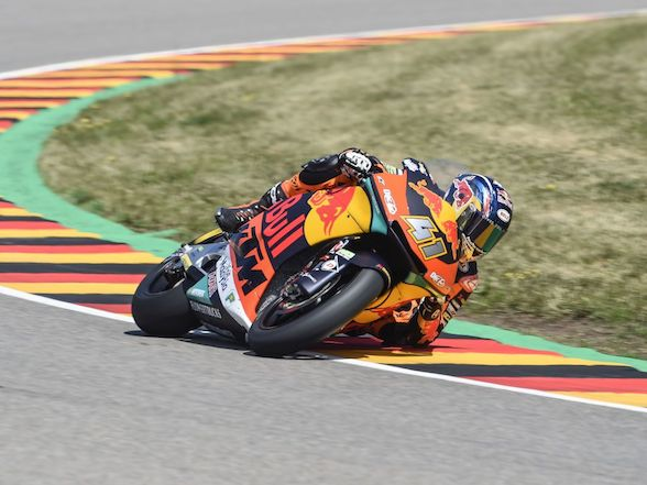 Brad Binder takes victory in the German Moto2 race