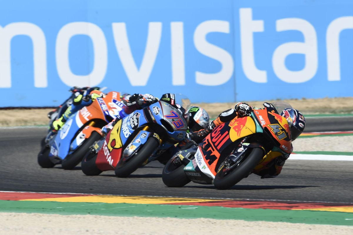 Brad Binder Aragon Moto2 Win group
