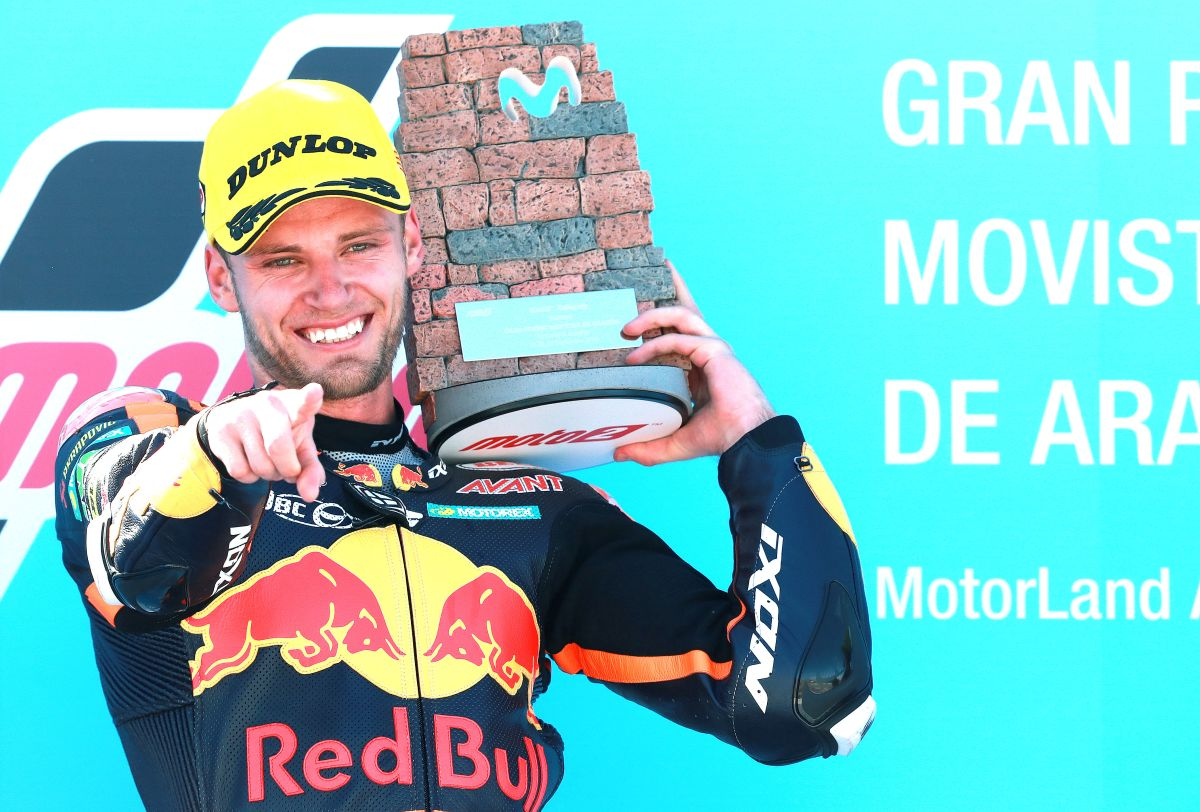 Brad Binder Aragon Moto2 Win podium