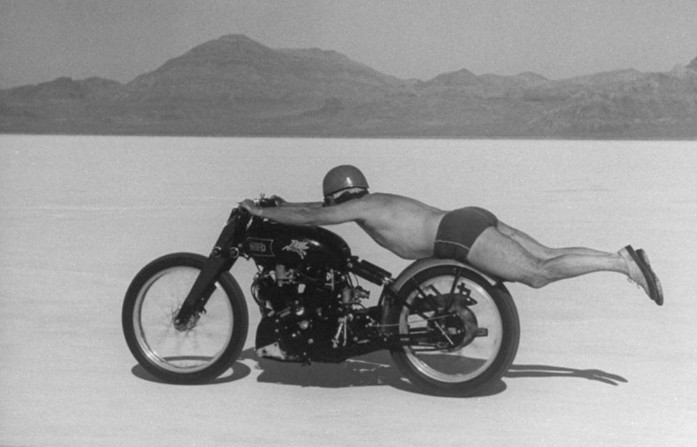 Motorcycle land speed record 1948 Rollie Free, Vincent 1000