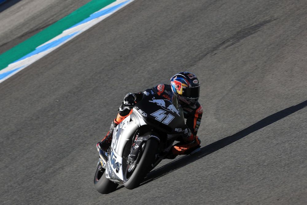 Brad Binder KTM Triumph Jerez test day one elbow