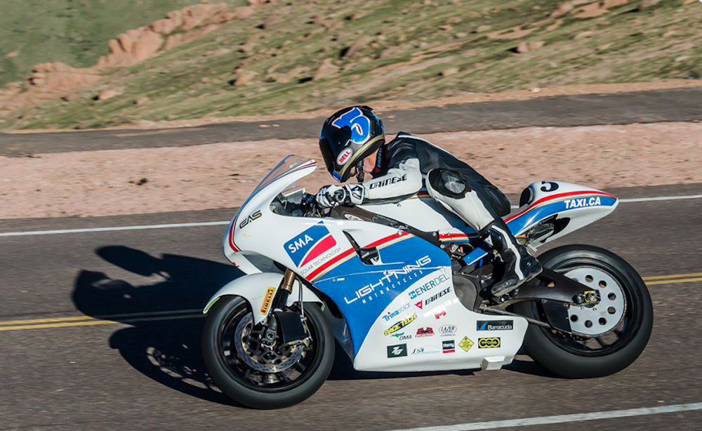 Lightning electric motorcycle fastest in world coming to south africa pikes peak