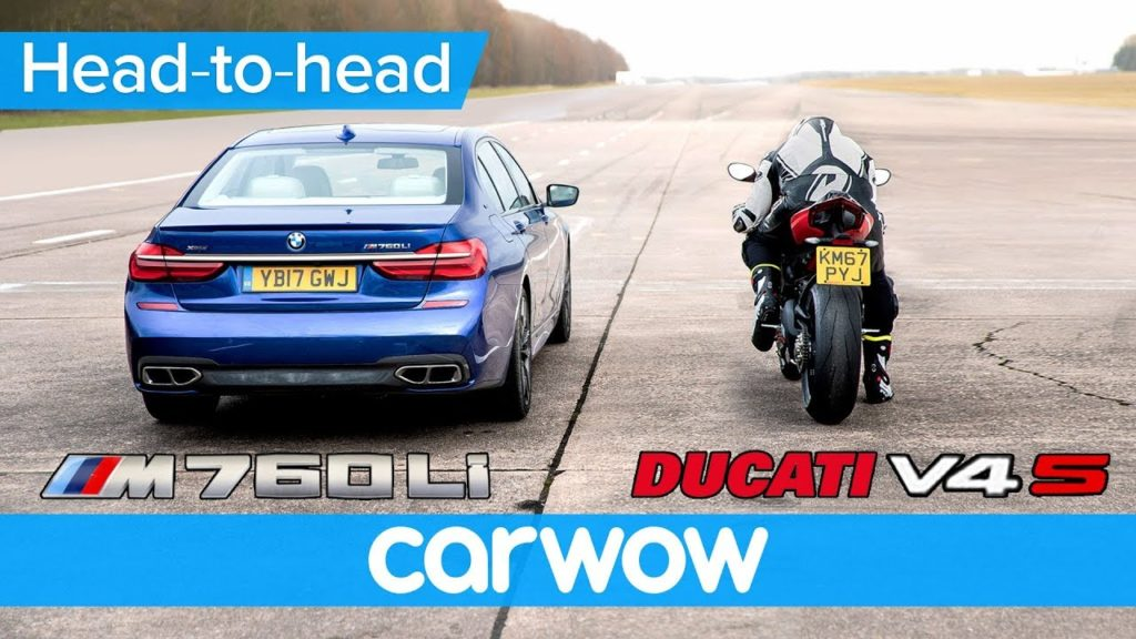 Video Ducati Panigale V4 S drag race BMW M765Li