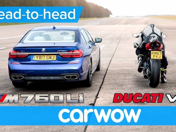 Sunday fun: Drag race between a Ducati Panigale V4 and a BMW M760Li