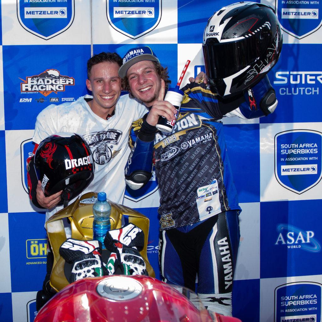 Clint Seller Blaze Bakes South African Superbike Supersport Champion celebration
