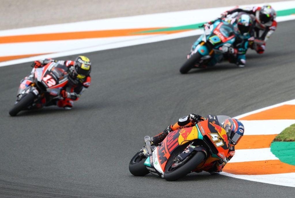 Brad Binder three wins Moto2 Valencia corner