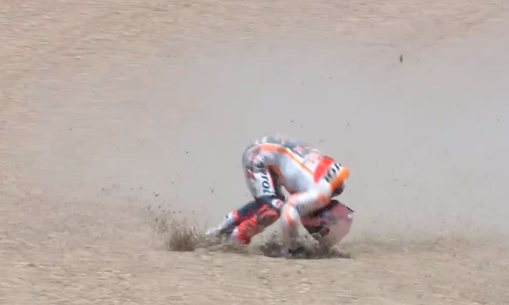 Marc Marquez highside crash broken arm Jerez MotoGP